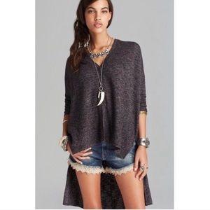 Free People TGIF Gray Oversized High Low Sweater